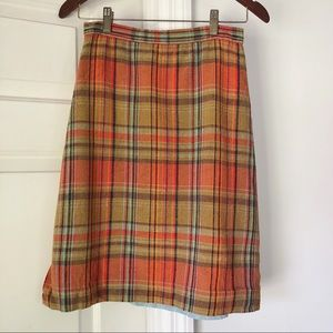 Vintage colorful plaid pencil skirt.